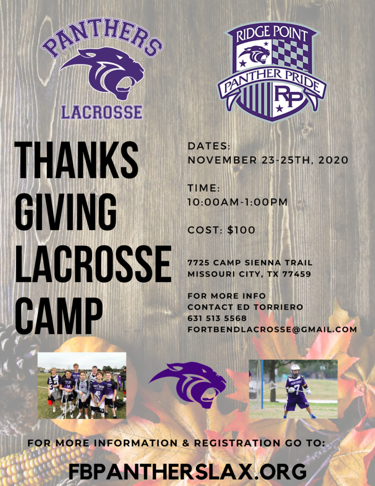 Panthers Lacrosse is looking for new players to join the program. We accept players of ANY skill level and can help provide gear & sticks for new players. (3)